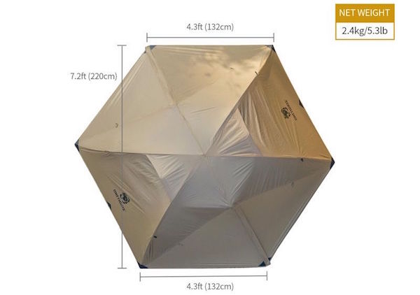 OneTigris Cosmitto backpacking tent dimensions